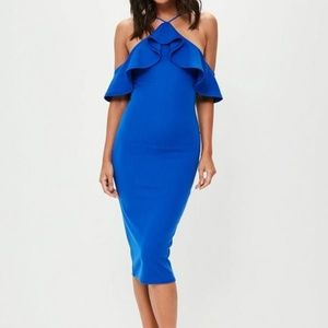 Colbalt high neck frill midi dress